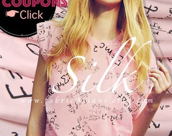 Pink Silk Crepe de Chine Numbers Fabric by the yard