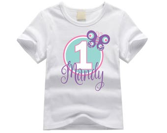 Personalized first birthday shirt. 1st birthday shirt. ANY AGE!! Butterfly birthday girl shirt. Baby girl birthday. Butterfly birthday shirt