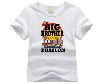 Personalized big brother shirt. Fire truck big brother tshirt. New big brother gift idea. Custom fire engine shirt for new big brother.