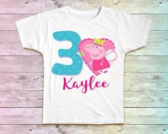Peppa Pig Birthday Shirt, Peppa Pig Birthday Party Tshirt. Peppa Pig Birthday Tee