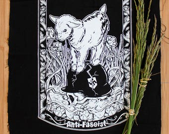 2 Green Antifa Goat Patches
