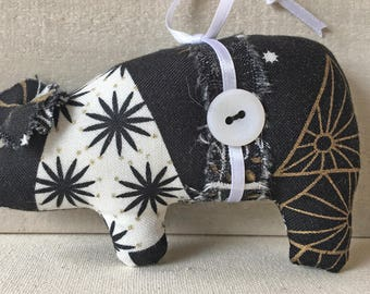 handmade Christmas ornaments - black and white ornaments - fabric pig ornaments - Christmas decor - farmhouse decor - novelty ornament