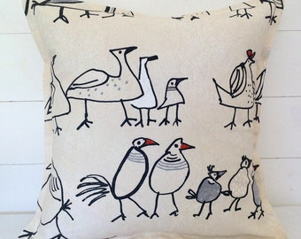 Cushion Cover, Charcoal Birds Cushion Cushion, Charcoal Birds Pillow Case, Cute Birds, Quirky Birds, Charcoal Chicks, Scatter Cushions, Bird