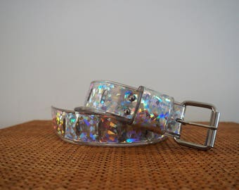 vintage 90's HOLOGRAPHIC plastic silver belt // high waisted // nu rave club kid skater girl mall punk cyber goth aesthetic