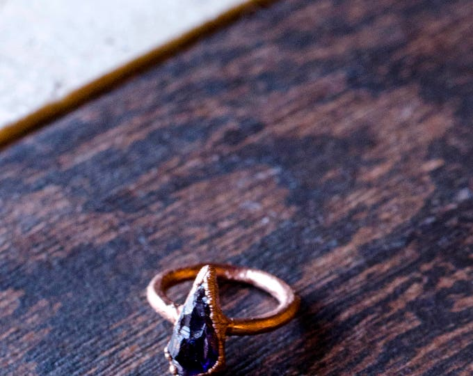 Amethyst + Copper Ring Size 6