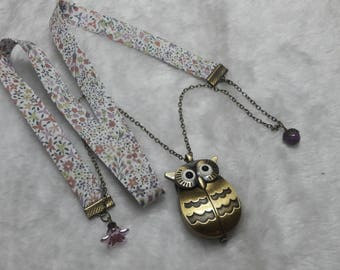 Pastel Liberty OWL Pocket Watch necklace