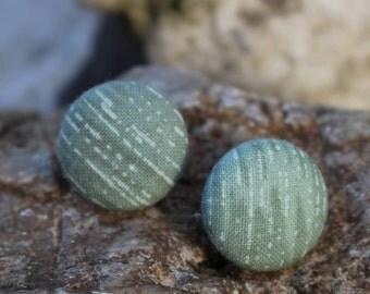19mm Green+White Stripings Pattern Fabric Button Earrings