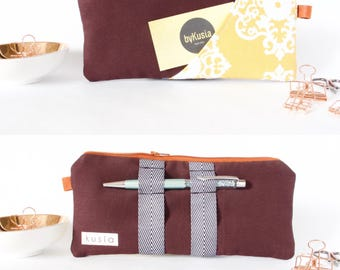 MULBERRY-PLUM YELLOW Pencil Pouch. Pencil Case. Zipper Pouch. Cute Pencil Case. Cute Pencil Case. School Supply. Small Pencil Bag. Pen Pouch