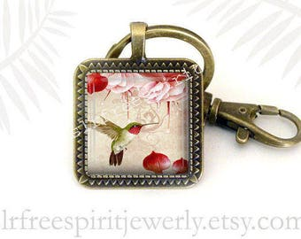 Hummingbird Necklace, Nature Key Chain, Hummingbird Earrings, Spring Accessory, Birds and Flowers, Cabochon Jewelry, Gift for Bird watcher