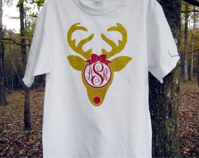 Rudolph Shirt - Reindeer Glitter monogram T Shirt - any color combination possible