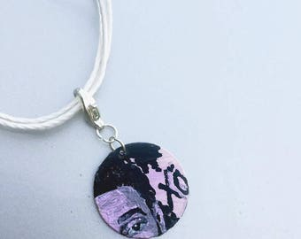 The Weeknd, XO, Necklace, Choker, Hand Painted jewelry. Clip on Charm, Keychain Clip on, Pendant