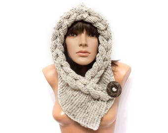 Tweed hooded, Hooded Scarf, Scarf, Hood, scarf hooded, Chunky scarf, Cowl by LoveKnittings