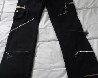 Rocker pants size 38, denim style rocker with 7 different color zippers