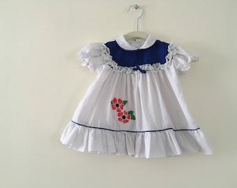Beautiful Vintage Blue Swiss Dot Dress - Size 12 months