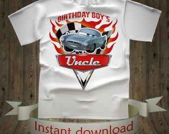 Disney Cars Birthday boy Uncle shirt Lightning McQueen Tee Tees T-Shirt Cars Printables tshirt iron on transfer birthday party