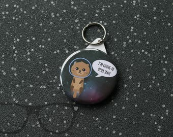 Outta Space badge - Otter Space - space fan - otter lover - puns - cute animal design - Otter Space Badge - Magnet - Keyring - Pocket Mirror