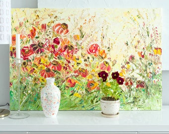 Oil Painting Flowers Palette Knife Painting Paintings on Canvas Flower Landscape Painting Oil Painting Landscape Red Yellow Garden Abstract