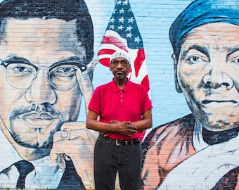 Black Heroes, Malcolm X, Harriet Tubman, American Flag, African American History, American History, Mural, Street Art, Urban Art, Brooklyn