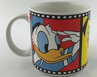 Vintage Walt Disney Mug Iconic Donald Duck Film Strip Frame Beverage Mug Walt Disney Co Made in Japan ©Disney Exclusively for Walt Disney