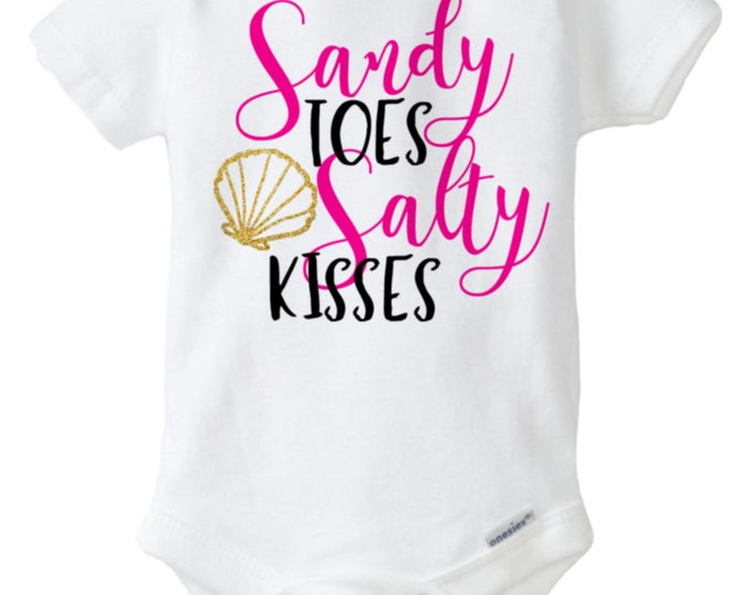Sandy Toes and Salty Kisses Baby Onesie®, Summer Baby Outfit, Baby Shirt, Pink with Gold Glitter Onesie®, Baby Shower Gift, Summer shirt