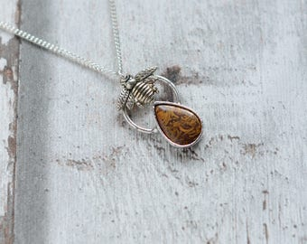 Mariam jasper  with bee necklace  / silver plated chain  /