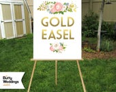 GOLD Easel . Large Wood Wedding Floor Stand . Display Signs up to 30 x 40in Foam Board, Canvas, Wood Sign, Frame no Glass . Hand Painted