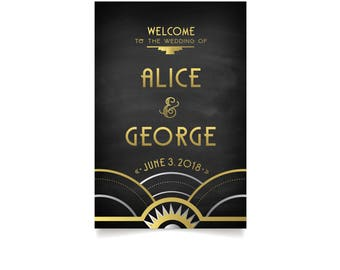 Art Deco Gold Silver & Navy Black Chalkboard Welcome Printed Sign . Great Gatsby 1920 Speakeasy Parlor Wedding . Prints • Frames • Easels