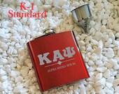 6oz Kappa Alpha Psi Flask and Funnel set, Flask set, Kappa Alpha Psi, Etched Flask