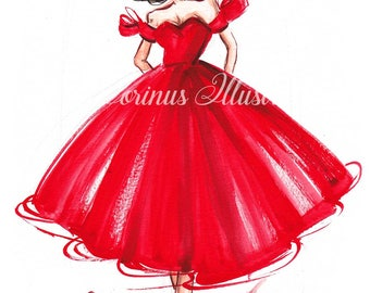 Fashion Illustration, Girl sketch, Fashion sketch, Girl illustration, Red dress sketch, Dress sketch, Dress illustration, Valentines print