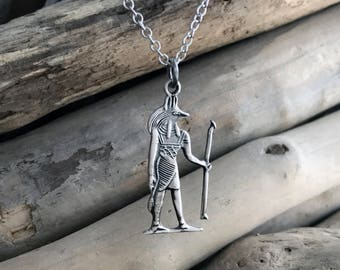 925 Sterling Silver Egyptian Anubis Pendant Necklace, Egyptian God of the Dead Pendant Necklace EGP035