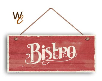 """ON SALE Bistro Sign, French Cafe 6""""x14"""" Sign, Red Rustic Style Kitchen Sign, Housewarming Gift, Dining Sign, Made To Order"""