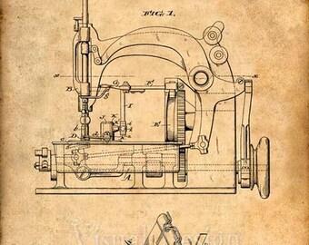 Sewing Machine Patent Print, Sewing Machine Patent Art Print, Patent Poster, Sewing Gift, Sewing Art, Sewing Print, Sewing Art Print
