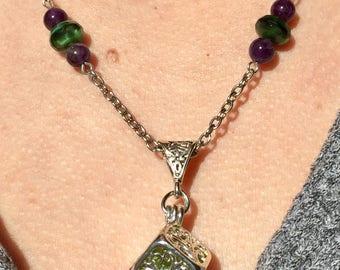 Peridot Wish Box Locket Pendant Necklace