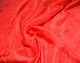 "100%  Pure Silk  Crepe Fabric Lipstick Red  Dresses Scarf Make  45"" W  Lightweight by Yard"
