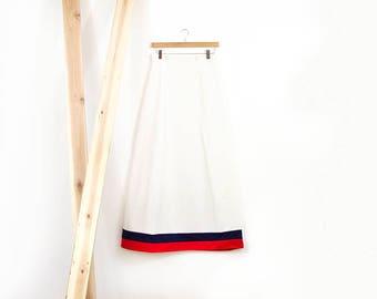 70s Puritan Sailor Moon Skirt / Full Length Skirt with Stripe Trim / Small-Medium