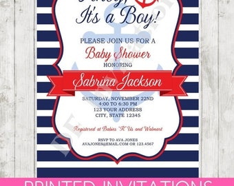 SALE Nautical Baby Shower Invitation - Printed Nautical Baby Shower Invitation by Dancing Frog Invitations