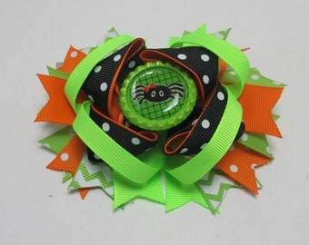 Halloween Spider Hair Bow, Boutique Hair Bow, Twisted Hair Bow, Layered Bow, School Party Bow, Birthday Gift