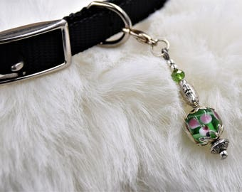 Flower Lamp-Work Beaded Cat Charm, Dog ID Tag, Pet Bling, Cat Dog Lover Accessories, Charm, Fur Baby, Fur-Baby jewelry