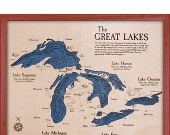 Great Lakes 16x20 3D Wall Chart