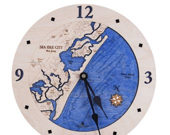 "Sea Isle City, New Jersey 12"" Wooden Clock"