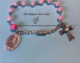 Beautiful One Decade Rosary Bracelet in Pink