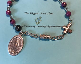 Handmade One Decade Rosary Bracelet in Purple