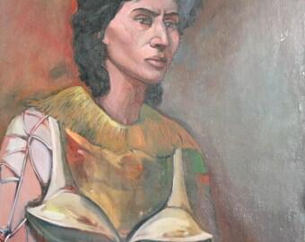 Vintage oil painting surrealist woman portrait signed