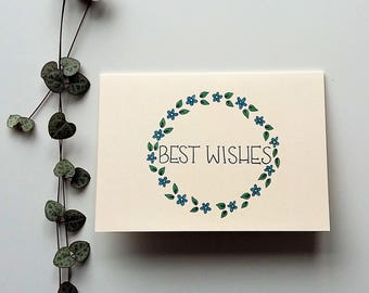 Best Wishes Card - wreath of flowers - a6 blank card, any occasion card, original design, floral card