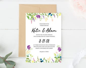 Wedding Invitation Template, Wedding Invitation Spring, Floral Wedding Invitation, Wedding Invite Template