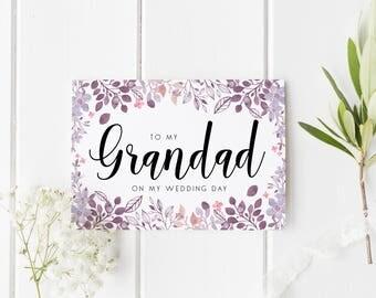 Grandad Wedding Day Card, Floral Grandad Card, Calligraphy Wedding Card, Card For Dad Wedding Day, Grandparents Wedding Day Card