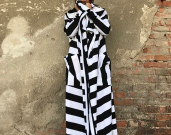Plus Size Cardigan, Long Sweater Coat, Black And White Coat, Spring Cardigan, Avant Garde Clothing, Maxi Cardigan, Women Cardigan