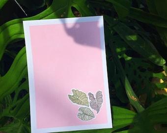 Botanical splash // pink lake with leaves