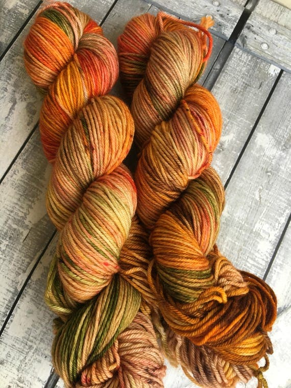 Hand Dyed Yarn,Falling leaves,DYED TO ORDER, 100 grams,indie dyed yarn,gift for Knitter,Toad Hollow Yarns