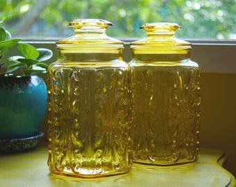Pair Large Vintage Mid-Century 1970's Yellow Imperial Glass Atterbury Scroll Canister Cookie Jars